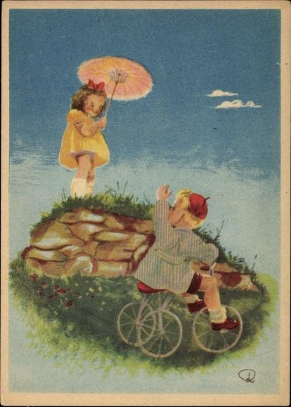 Künstler Ak Junge auf einem Dreirad, Mädchen mit Sonnenschirm