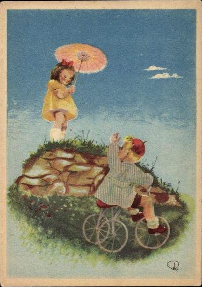 Künstler Ak Junge mit Dreirad, Mädchen mit Sonnenschirm