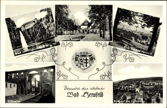 Ak Bad Hersfeld in Hessen, Stiftsruine, Kurparkpartie, Blick auf Wigbertshöhe, Ortsblick