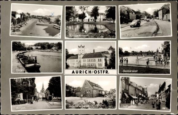 Ak Aurich in Ostfriesland, Markt, Schwanenteich, Badeanstalt, Hafen, Herberge, Wilhelmstraße