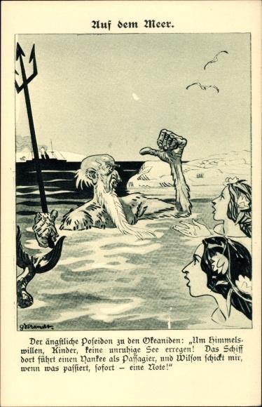 Künstler Ak Der ängstliche Poseidon zu den Okeaniden, Kriegsschiff, Yankee, Wilson Note