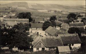 Ak Skane Schweden, Blick auf den Ort, Felder, Häuser mit Reetdach