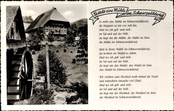 Gedicht Ak Es steht eine Mühle im Schwarzwäldertal, Wassermühle
