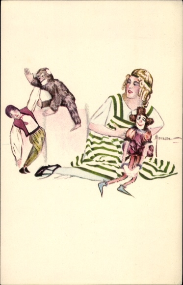 Künstler Ak Manasse, Frau in grün weiß gestreiftem Kleid mit Puppen und Affe, BKWI 542 5