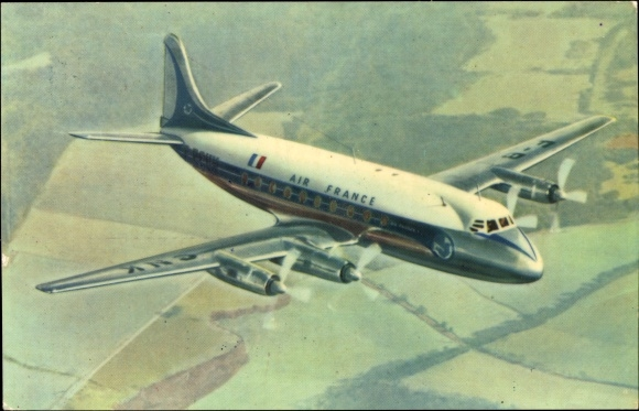 Ak Air France, Vickers Viscount, Propellermaschine im Flug