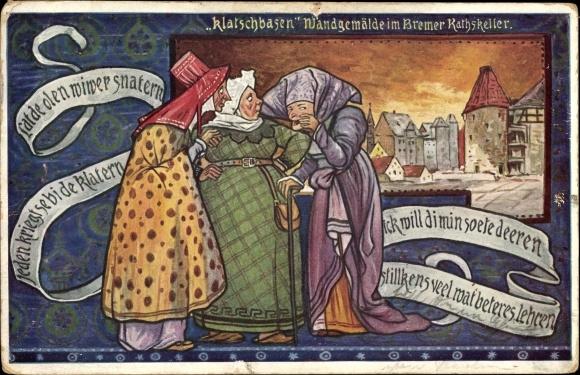 Künstler Ak Hansestadt Bremen, Klatschbasen, Wandgemälde im Bremer Ratskeller