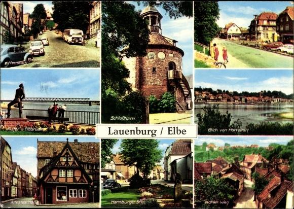 Ak Lauenburg an der Elbe, Schlossturm, Elbbrücke, Ältestes Haus, Hohler Weg, Hamburger Str.