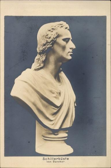 Ak Schriftsteller Friedrich von Schiller, Büste von Daneker