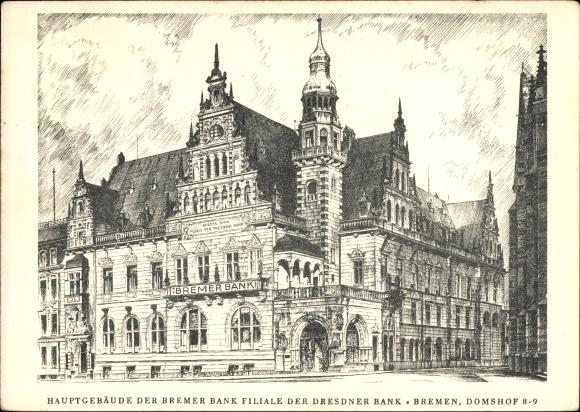 Künstler Ak Hansestadt Bremen, Zeichnung vom Hauptgebäude der Bremer Bank Filiale der Dresdner Bank