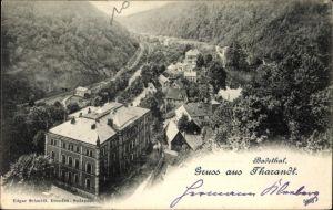 Ak Tharandt im Erzgebirge, Blick ins Badethal, Häuser, Wälder, Berge