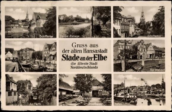 Ak Stade in Niedersachsen, Hafen, Wasser, Inselhaus, Fleth, Schiffertor, Contre Escarpe