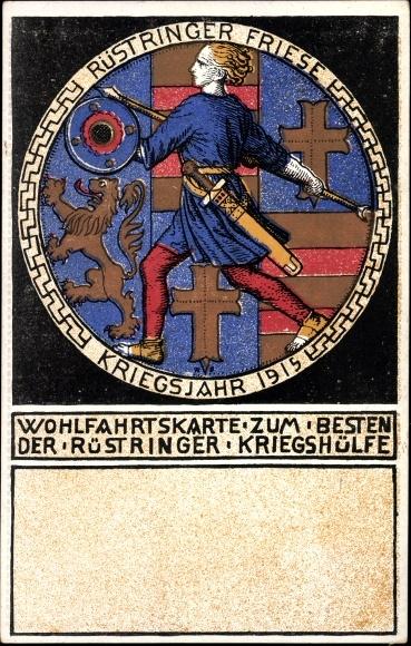 Künstler Ak Rüstringen Wilhelmshaven, Wohlfahrtskarte der Rüstringer Kriegshilfe, Nagelung