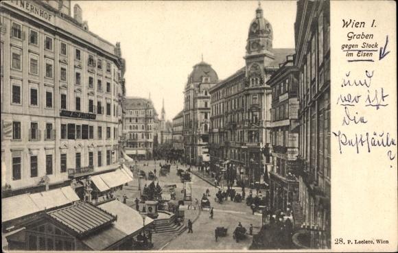 Ak Wien 1. Graben, Innere Stadt Österreich,Graben, Straßenszene, Geschäfte, Verkehr, Brunnen