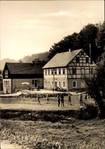 Ak Nassau Frauenstein Erzgebirge, Ferienheim der Deutschen Post, HPA Dresden, Fachwerkhaus, Kinder