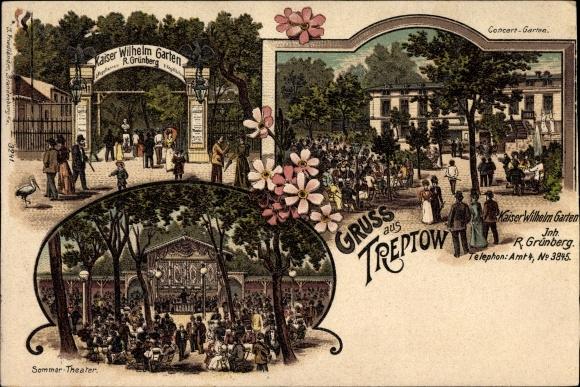 Litho Berlin Treptow, Kaiser Wilhelm Garten, R. Grünberg, Konzertgarten