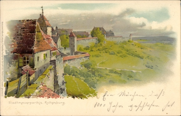 Künstler Litho Hammel, Otto, Rothenburg ob der Tauber Mittelfranken, Stadtmauerpartie