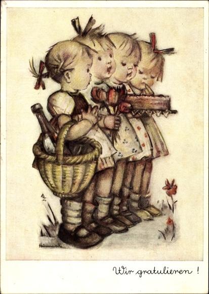 Künstler Ak Hummel, Wir gratulieren, Vier Kinder mit Kuchen, Wein und Tulpen