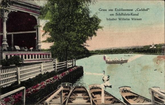 Ak Berlin Spandau, Etablissement Carlshof am Schifffahrtskanal, Wilhelm Wiemer
