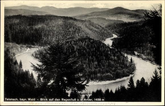 Ak Bodenmais im Bayerischen Wald Niederbayern, Blick auf den Regenfluß un den Arber