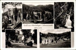 Ak Oppenau im Ortenaukreis im Schwarzwald, Kloster Allerheiligen, Ruine, Wasserfall, Gesamtansicht