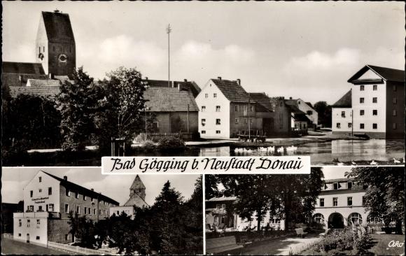 Ak Bad Gögging Neustadt Niederbayern, Teilansicht vom Ort, Schwefel und Moorbad Trajansbad