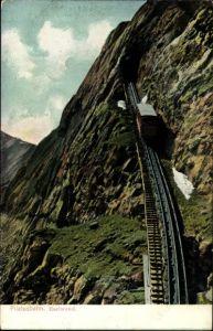 Ak Schweiz, Pilatusbahn, Eselwand, Zahnradbahn beim Aufstieg, Tunnel