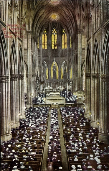 Ak New York City USA, Interior of St. Patricks Cathedral, Altar