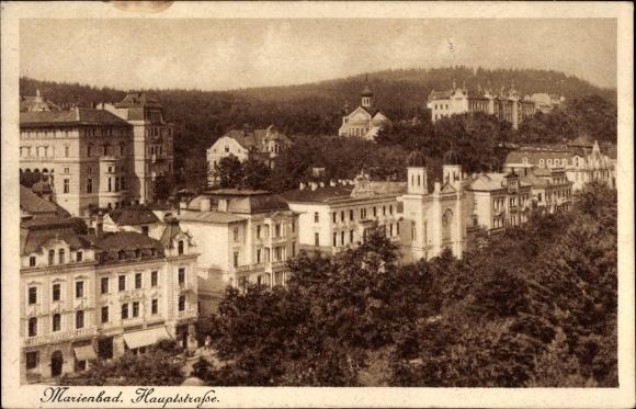 Judaika Ak Mariánské Lázně Marienbad Reg. Karlsbad, Hauptstraße, Synagoge