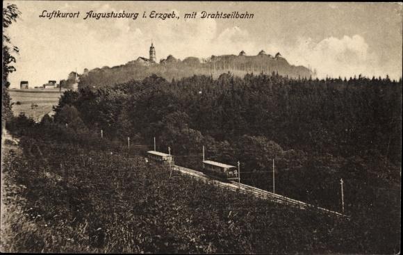 Ak Augustusburg im Erzgebirge, Teilansicht vom Ort mit Drahtseilbahn