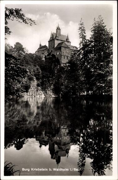 Ak Kriebstein Sachsen, Blick zur Burg Kriebstein, Gaststätte Talsperre Kriebstein