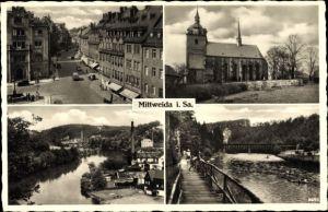 Ak Mittweida in Sachsen, Partie auf der Holzbrücke, Kirche, Markt, Fluss