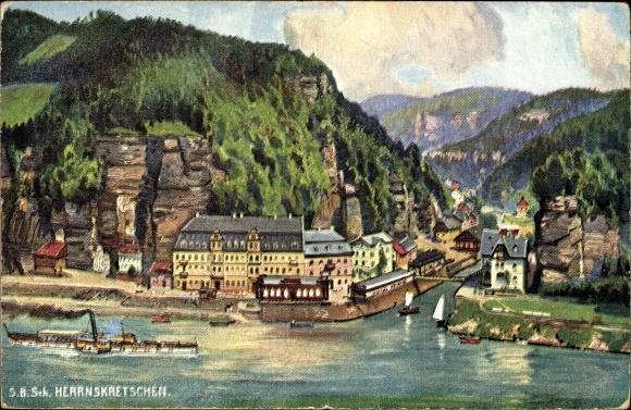 Künstler Ak Hřensko Herrnskretschen Elbe Reg. Aussig, Flusspartie, Salondampfer, Stadt