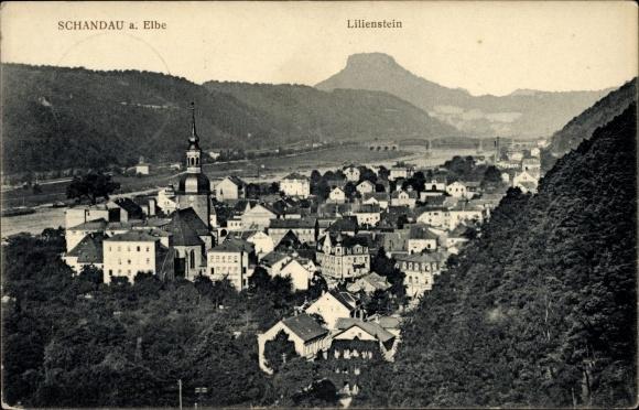 Ak Bad Schandau an der Elbe, Blick über den Ort und den Fluss hin zum Lilienstein, Kirche, Brücke
