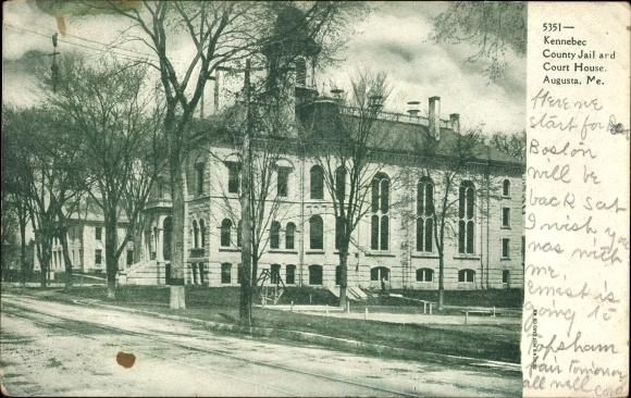 Ak Augusta Maine USA, Kennebec County Jail and Court House, Gefängnis und Justizgebäude