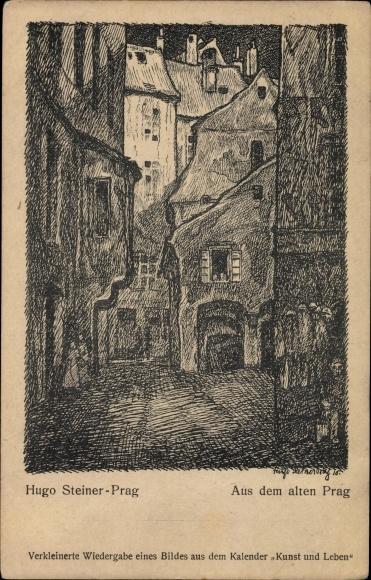 Künstler Ak Steiner, Hugo, Praha Prag, Aus dem alten Prag, Häusergasse