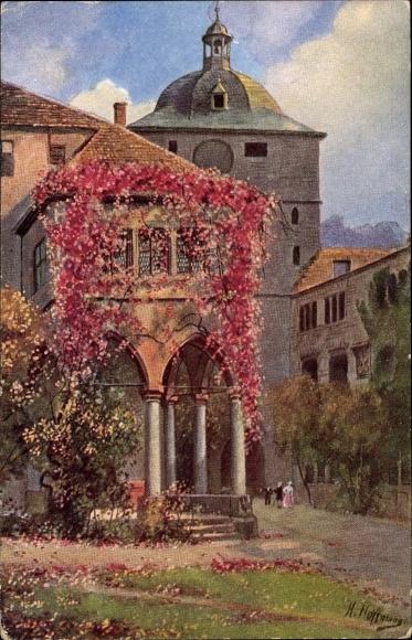 Künstler Ak Hoffmann, H., Heidelberg am Neckar, Partie aus dem Schlosshof, Brunnenhalle und Wartturm