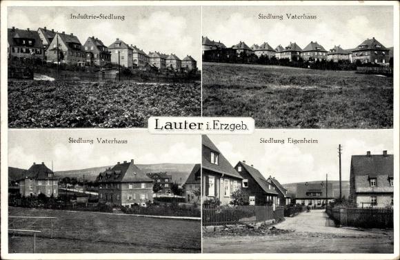 Ak Lauter Bernsbach im Erzgebirge Sachsen, Industriesiedlung, Siedlung Vaterhaus, Eigenheim
