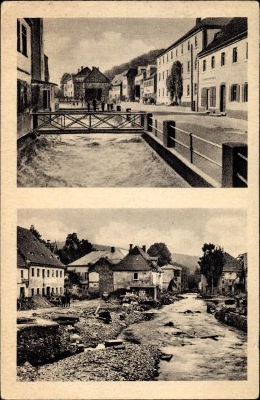 Ak Berggießhübel, Hauptstraße, Fluss, Brücke, Hochwasser am 08/09 Juli 1927