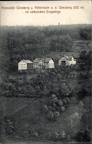 Ak Schneeberg im Erzgebirge, Heimstätte Gleesberg und Köhlerturm