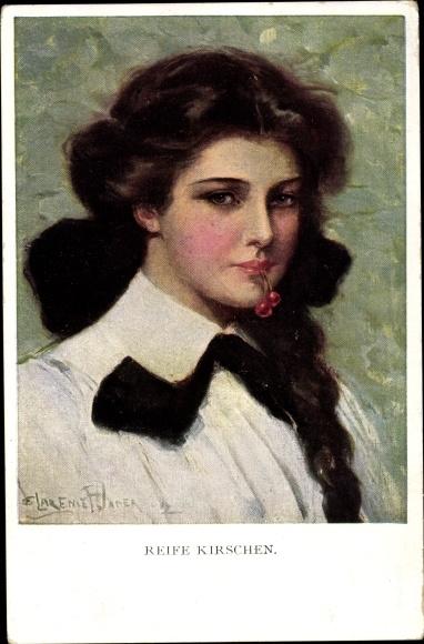 Künstler Ak Underwood, Clare, Reife Kirschen, Portrait einer jungen Frau,Munk 832