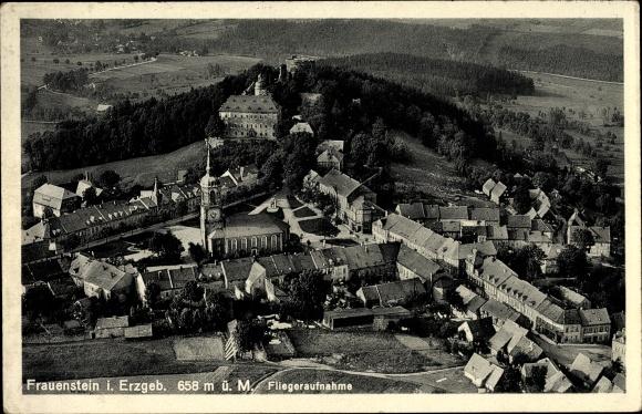 Ak Frauenstein im Erzgebirge, Fliegeraufnahme von Ort und Umgebung