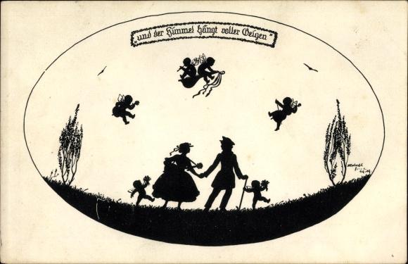 Scherenschnitt Ak Forck, Elsbeth, Und der Himmel hängt voller Geigen, Elfen, Liebespaar