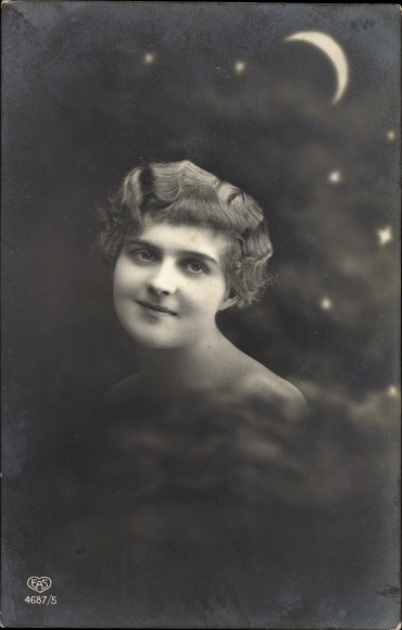 Ak Junge Frau, Portrait, Mondnacht, Sternenhimmel, EAS 4687/5