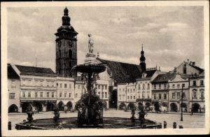 Ak Budweis České Budějovice Südböhmen Tschechien, Marktplatz, Brunnen, Turmuhr, Namesti