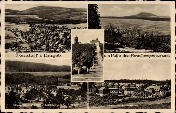 Ak Neudorf Sehmatal Cranzahl im Erzgebirge, Fichtelberg, Kretscham, Vierenstraße