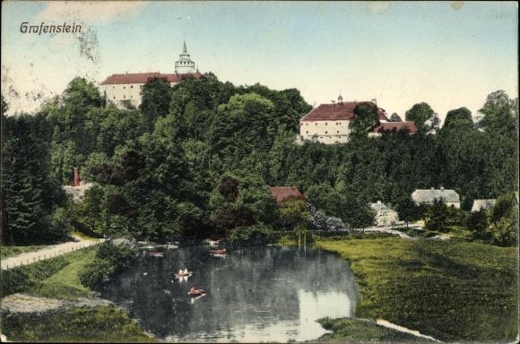 Ak Grabštejn Grafenstein Chotyně Ketten Reg. Reichenberg, Partie am Teich, Schloss