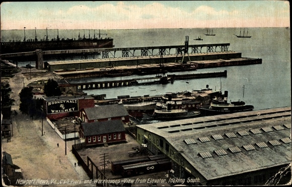 Ak Newport News Virginia, C & O Piers ans Warehouses, View from Elevator looking South, Rooney Malt
