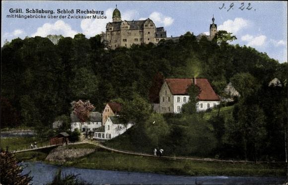 Ak Rochsburg Lunzenau in Sachsen, Gräfliche Schönburg, Schloss, Hängebrücke über der Zwickauer Mulde