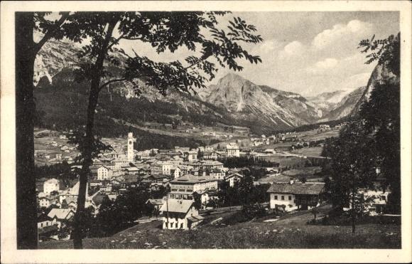 Ak Cortina d'Ampezzo Veneto, Panorama generale nello sfondo il Col Rosa