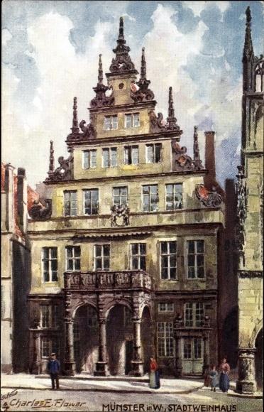 Künstler Ak Flower, E. Charles, Münster in Westfalen, Stadtweinhaus, Tuck 195 B
